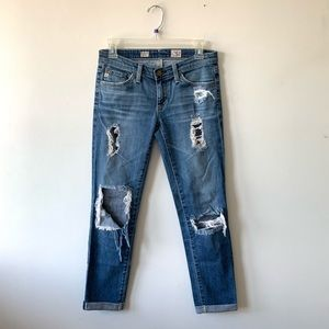 AG Stilt Roll Up Cigarette Distressed Jeans Sz 24